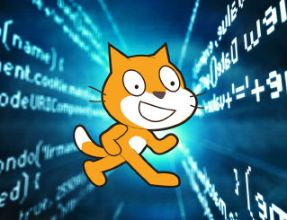 Scratch Cat in front of a computer screen with code