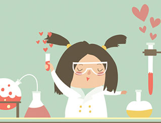Illustration of a girl in a science lab mixing chemicals