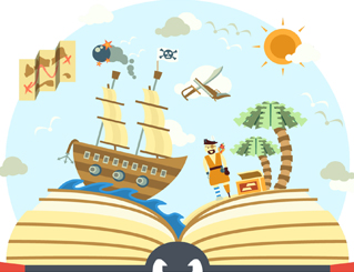 Illustration of a pirate ship on top of an open book