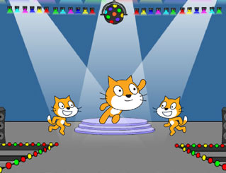 Three Scratch Cats on a dance floor