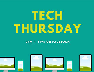 Tech Thursday banner with icons of computers, phones, and tablets