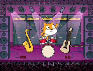 Scratch cat and different musical instruments on stage
